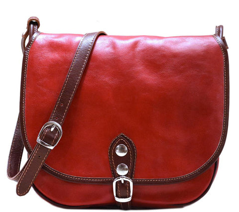 FLOTO PROCIDA LEATHER SADDLE LEATHER BAG RED/BROWN