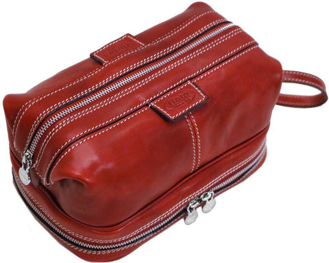 FLOTO POSITANO LEATHER TRAVEL KIT TUSCAN RED