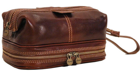 FLOTO POSITANO LEATHER TRAVEL KIT VECCHIO BROWN