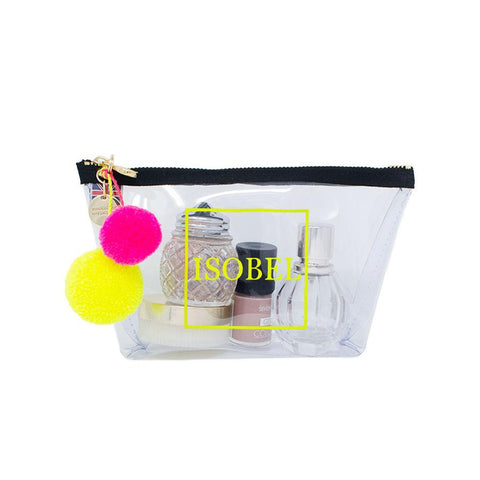 Alicia Small Clear Make up Bag - Neon Yellow