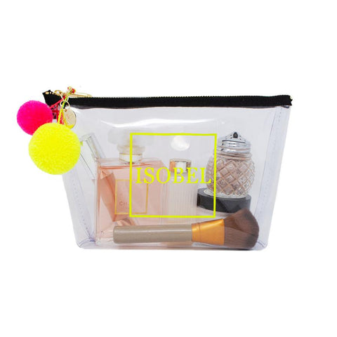 Alicia Medium Clear Make up Bag - Neon Yellow