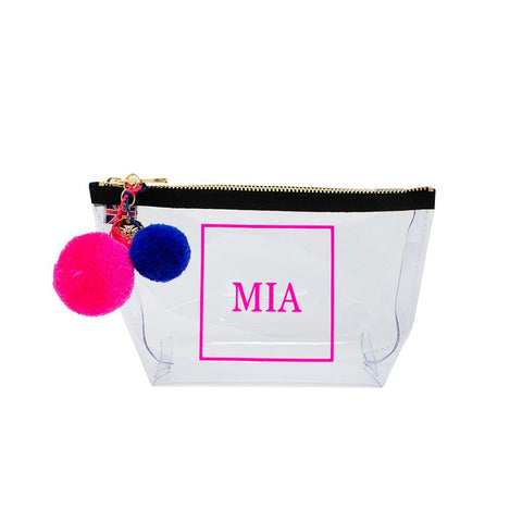 Alicia Small Clear Make up Bag - Neon Pink