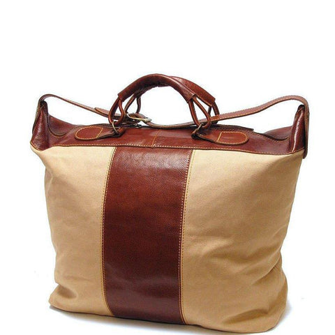 Floto Italian Leather Canvas and Leather Piana Travel Tote Bag
