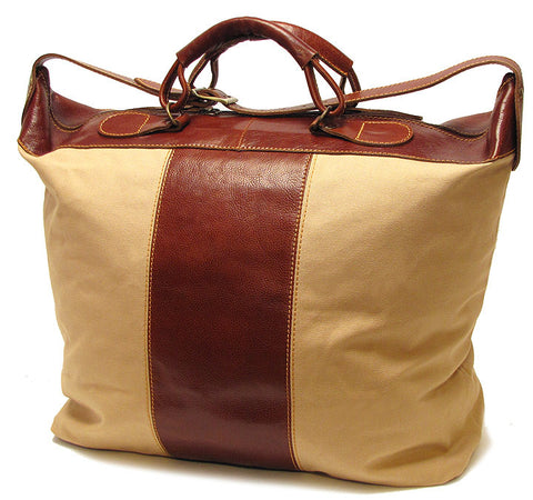 FLOTO Piana Leather & Canvas Tote Vecchio Brown