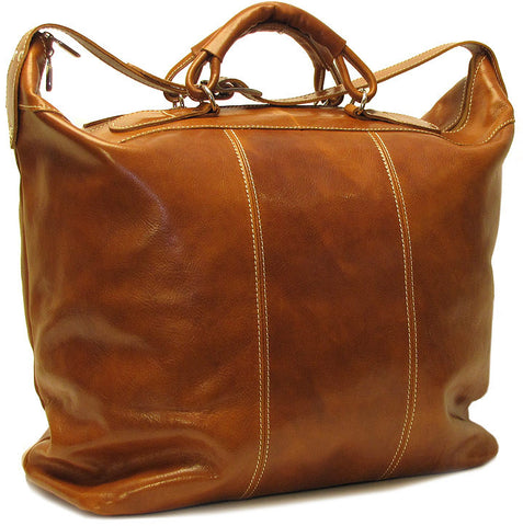 FLOTO Piana Leather Tote Olive Honey Brown