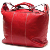 Floto Italian Leather Duffle Travel Tote Bag red