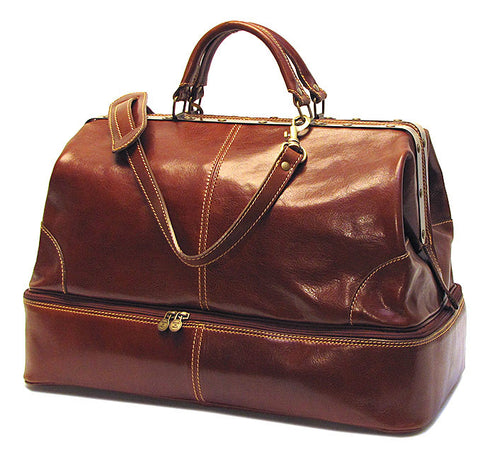 FLOTO Positano Grande Leather Duffle Vecchio Brown