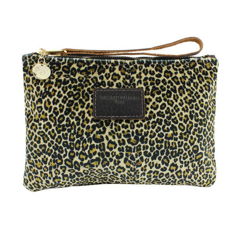 Will Bees Personalised Frances Clutch Light Leopard Print Velvet Brown
