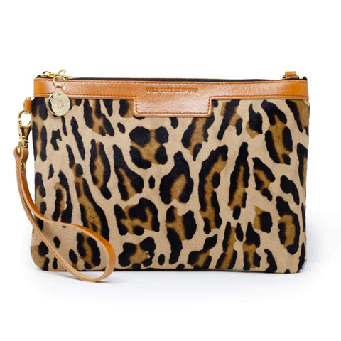 Will Bees Personalised Leather Premium Diana Clutch Leopard Print Brown