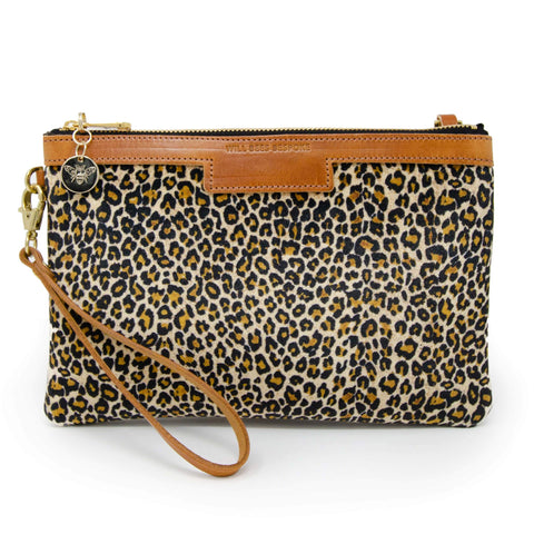WILL BEES PERSONALISED Premium Diana Clutch Light Leopard Print Velvet BROWN