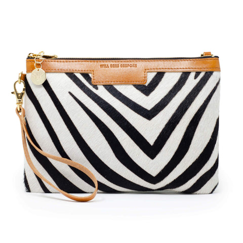 Will Bees Personalised Leather Premium Diana Clutch Zebra Print Black
