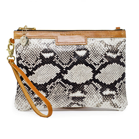 Will Bees Personalised Leather Premium Diana Clutch Black White Snake