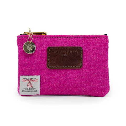 Will Bees Personalised Jane Coin Purse Harris Tweed® Bright Pink