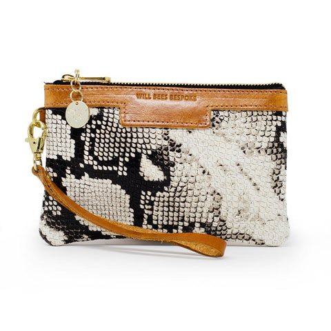 WILL BEES Premium Diana Mini Clutch White Snake
