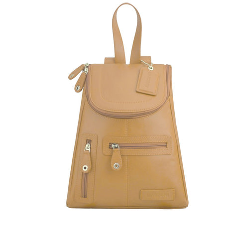 MANZONI LEATHER BACKPACK R107 CAMEL BROWN WITH FREE WALLET
