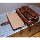 FLOTO LEATHER ROMA ROLLER BUCKLE MESSENGER BAG VECCHIO BROWN