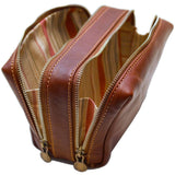 FLOTO SIENA LEATHER TRAVEL KIT SADDLE BROWN