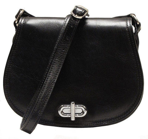 FLOTO FIRENZE LEATHER SADDLE SHOULDER BAG BLACK
