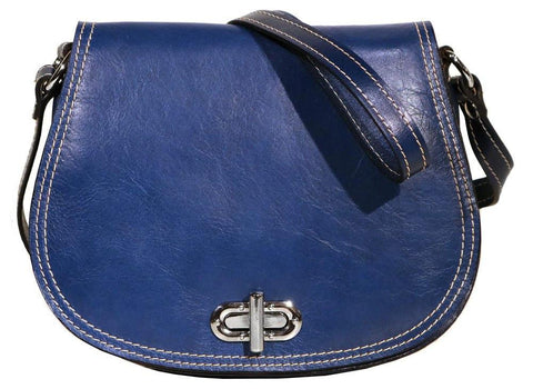 FLOTO FIRENZE LEATHER SADDLE SHOULDER BAG BLUE
