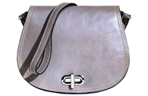 FLOTO FIRENZE LEATHER SADDLE SHOULDER BAG GREY