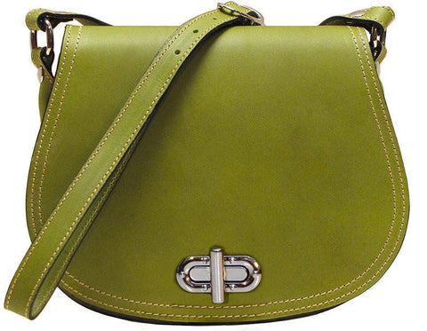 FLOTO FIRENZE LEATHER SADDLE SHOULDER BAG GREEN