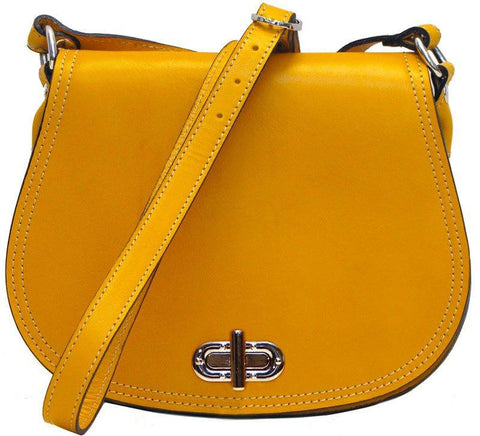 FLOTO FIRENZE LEATHER SADDLE SHOULDER BAG YELLOW