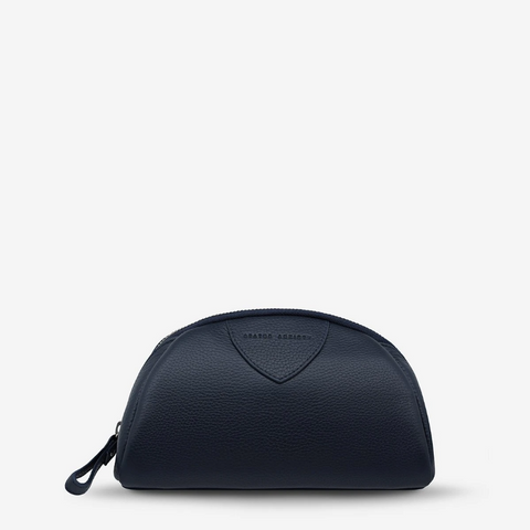 STATUS ANXIETY ADRIFT LEATHER COSMETIC CASE NAVY BLUE