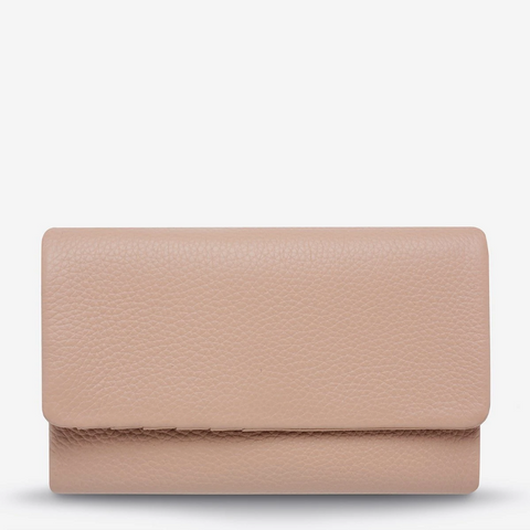 STATUS ANXIETY AUDREY PEBBLE LEATHER WALLET DUSTY PINK
