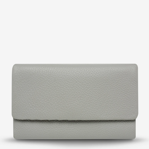 STATUS ANXIETY AUDREY PEBBLE LEATHER WALLET LIGHT GREY