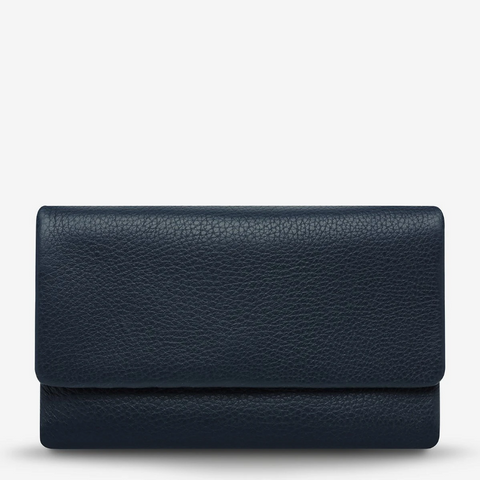 STATUS ANXIETY AUDREY PEBBLE LEATHER WALLET NAVY BLUE