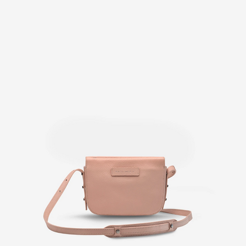 STATUS ANXIETY IN HER COMMAND LEATHER CROSSBODY BAG DUSTY PINK