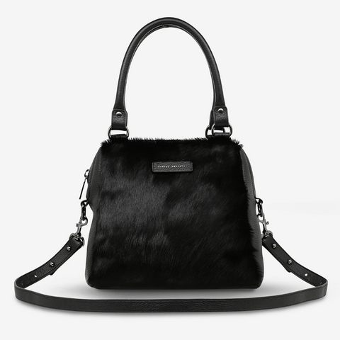 STATUS ANXIETY LAST MOUNTAINS LEATHER HANDBAG/SHOULDER BAG BLACK FUR