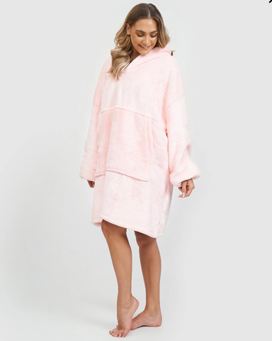 Miz Casa & Co Luxury Hooded Blanket Robe Pink