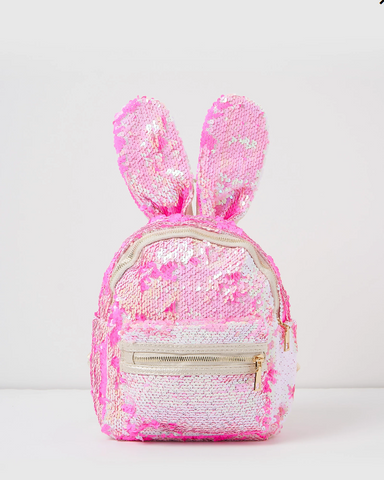 Izoa Sequin Backpack Rabbit Bunny Ears Pink