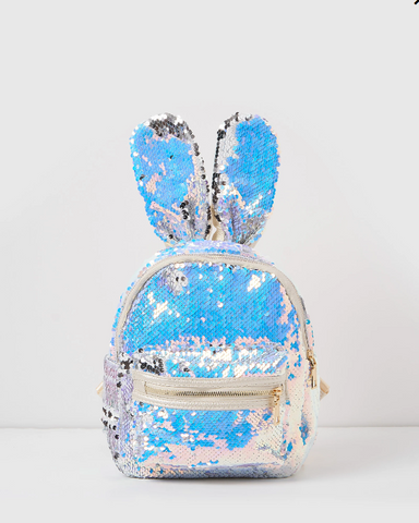 Izoa Sequin Backpack Rabbit Bunny Ears Silver