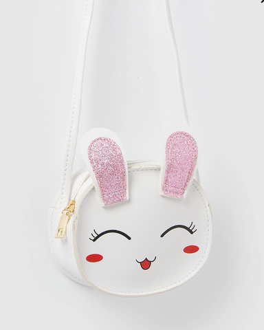 Izoa Cross Body Bunny Bag White