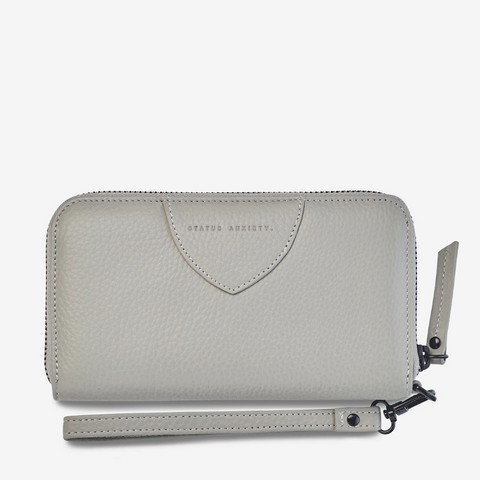 STATUS ANXIETY MOVING ON LEATHER ZIP AROUND WALLET LIGHT GREY