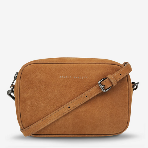STATUS ANXIETY PLUNDER NUBUCK LEATHER CROSSBODY BAG TAN