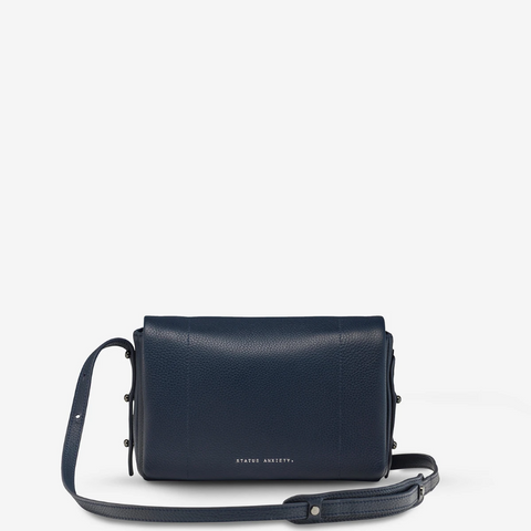 STATUS ANXIETY SUCCUMB LEATHER CROSSBODY BAG NAVY BLUE