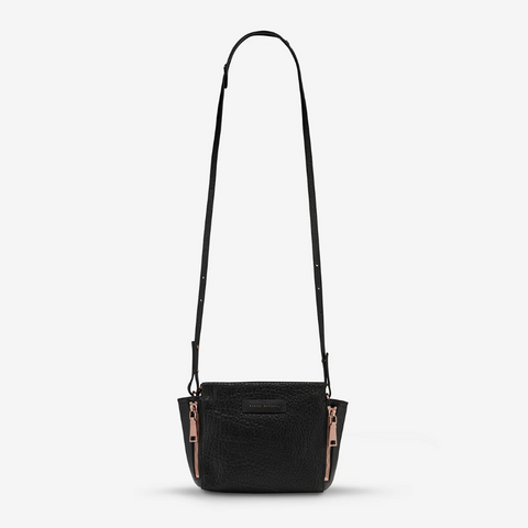STATUS ANXIETY THE ASCENDANTS LEATHER SHOULDER BAG BLACK BUBBLE/ROSE GOLD