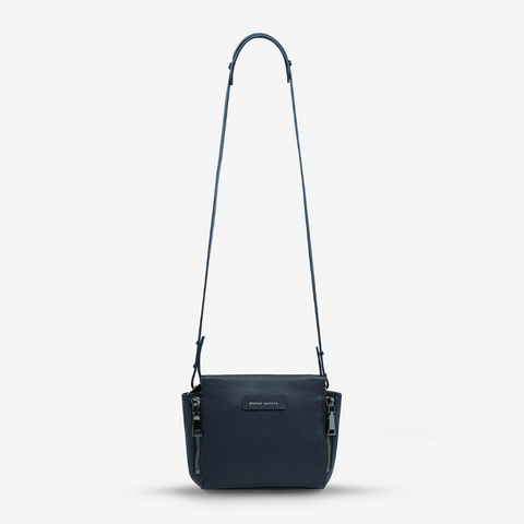 STATUS ANXIETY THE ASCENDANTS LEATHER SHOULDER BAG NAVY BLUE