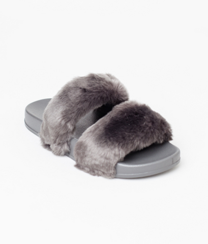 Gingerlily Double Strap Faux Fur Slide Grey