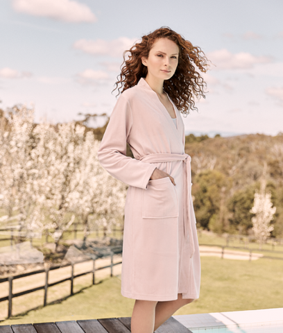 Gingerlily Greta Cotton Velour Luxe Robe Pink