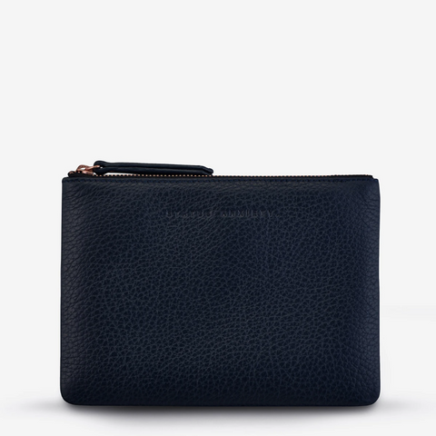 STATUS ANXIETY TREACHEROUS LEATHER POUCH WALLET NAVY BLUE