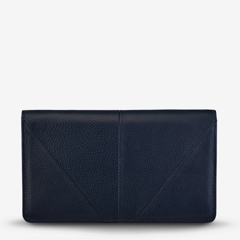 STATUS ANXIETY TRIPLE THREAT LEATHER WALLET NAVY BLUE