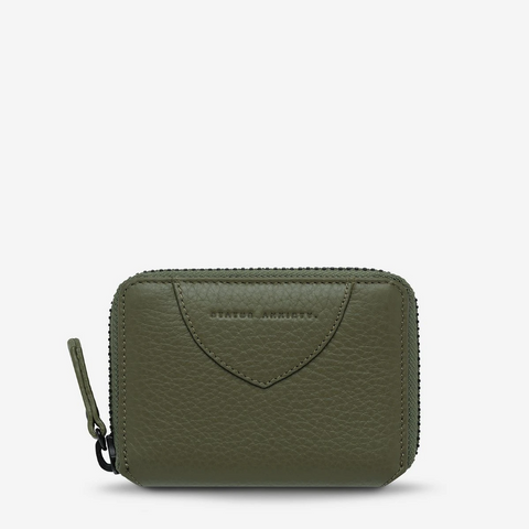 STATUS ANXIETY WAYWARD LEATHER ZIP AROUND WALLET KHAKI GREEN
