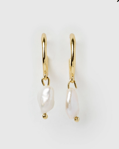 Izoa Enlighten Mini Hoop Earrings Gold Freshwater Pearl