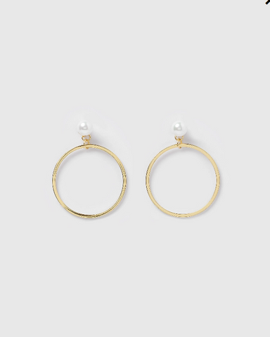 Izoa Holly Hoop Earrings Gold Pearl
