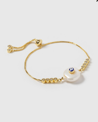 Miz Casa & Co Zeta Eye Bracelet Gold Pearl