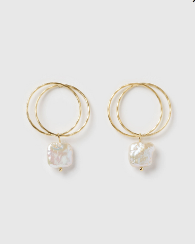 Izoa Lucid Earrings Gold Freshwater Pearl
